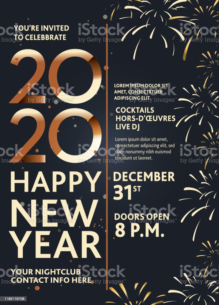 Vector illustration of a Happy New Year 2020 party invitation design...