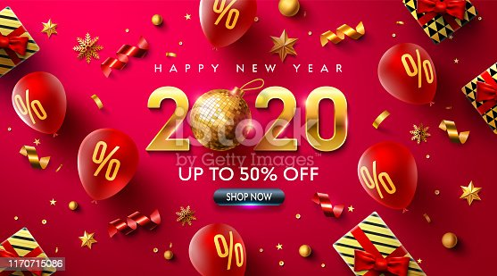 Happy New year 2020 Promotion Poster or banner with red balloons,gift box,golden ribbon and confetti.Promotion or shopping template for Christmas in golden and red style.Vector EPS10