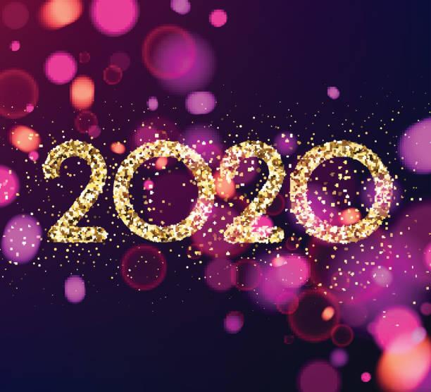 Frohes Neues Jahr 2020 lila Karte mit glitzernden Text. – Vektorgrafik