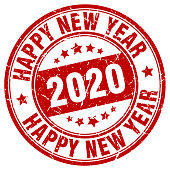 happy new year 2020 red stamp. new year 2020. two thousand and twenty.