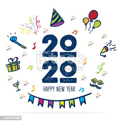 Happy new year 2020 symbol with party icon doodle hand drawing colorful style.fun greeting card for celebration holiday number.vector illustration text design.Isolated on white background
