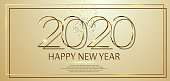Happy New Year 2020 text design. Vector greeting illustration with golden numbers and fireworks.
