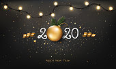 Happy New Year 2020 background with Christmas light and decoration.