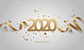 Happy New Year 2020. Golden numbers with ribbons and confetti on a white background.