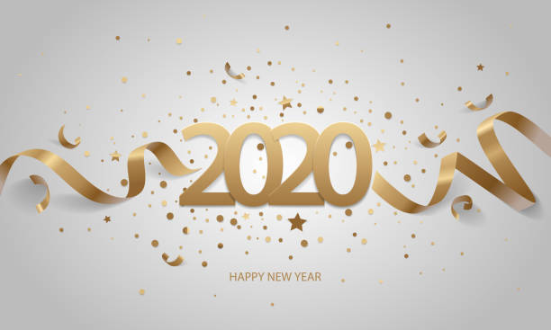 Happy New Year 2020 Happy New Year 2020. Golden numbers with ribbons and confetti on a white background. 2020 stock illustrations