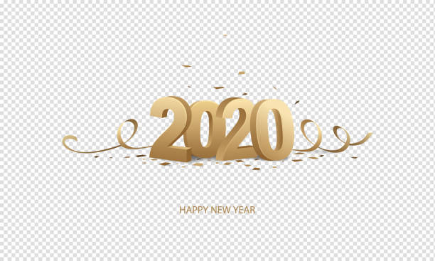 Happy New Year 2020 Happy New Year 2020. Golden 3D numbers with ribbons and confetti on a transparent background. 2020 stock illustrations