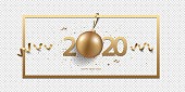 Happy New Year 2020 with Christmas decoration and confetti on a transparent background.