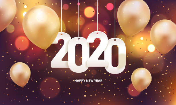 Happy new year 2020 Happy new year 2020. Hanging white paper number with balloons and confetti on a colorful blurry background. 2020 stock illustrations