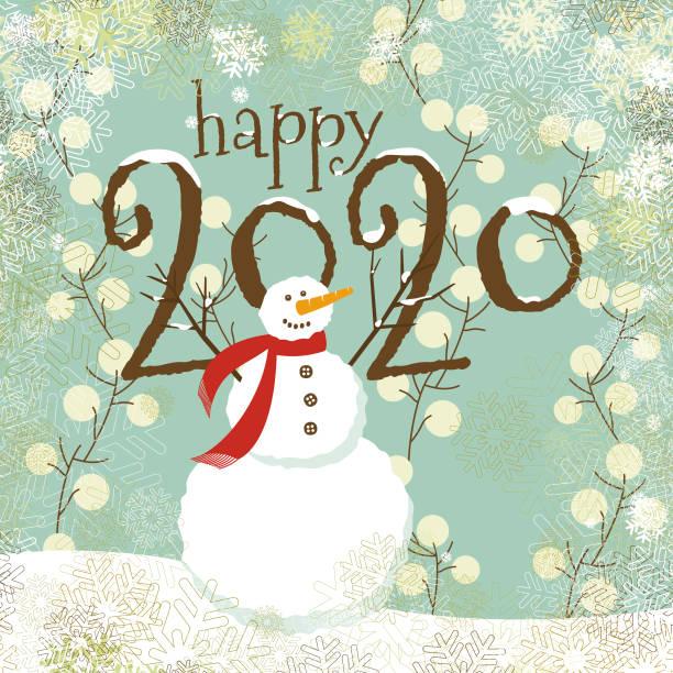 Happy new year 2020 vector art illustration