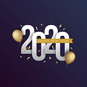 Happy New Year 2020 vector illustration for banner, flyer and greeting card