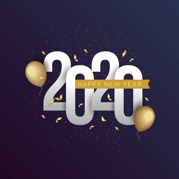 ilustraciones, imágenes clip art, dibujos animados e iconos de stock de feliz año nuevo 2020 ilustración vectorial para banner, folleto y tarjeta de felicitación - víspera de año nuevo