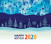 Happy New Year 2020 background with hand drawn elements and water color background.
