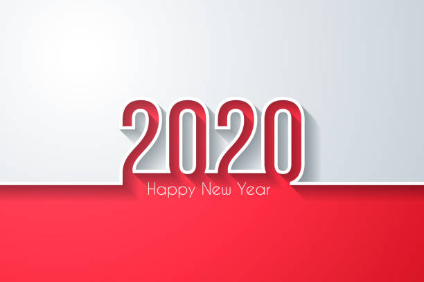 Happy new year 2020 - White background vector art illustration