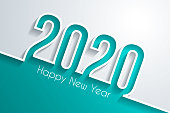 Happy new year 2020 with space for your text. Creative greeting card in a trendy and modern style. The layers are named to facilitate your customization. Vector Illustration (EPS10, well layered and grouped). Easy to edit, manipulate, resize or colorize.