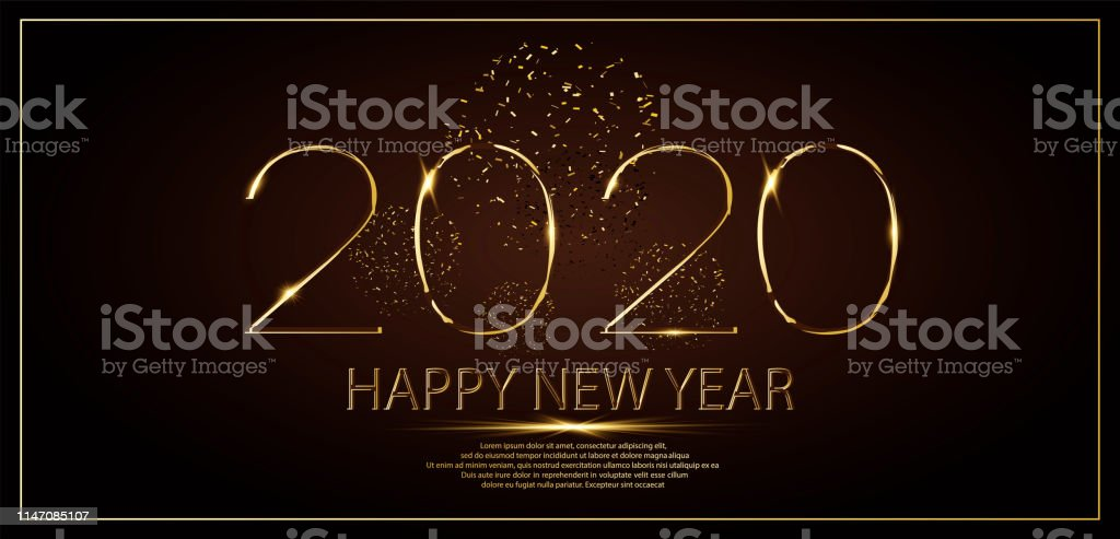 Happy New Year 2020 winter holiday greeting card design template....