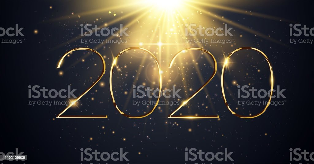 NYE 2020. Happy New Year 2020 winter holiday greeting card design...