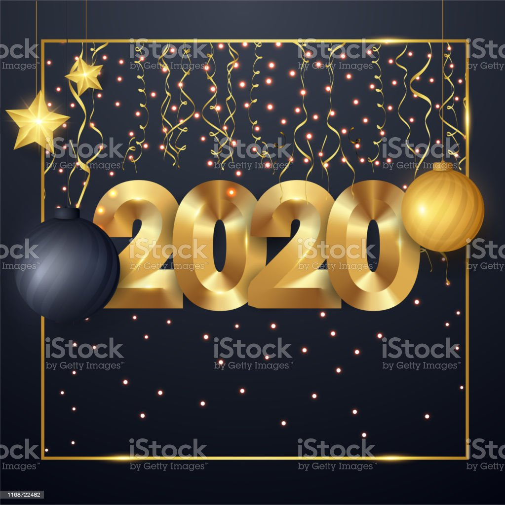 Happy New Year 2020 Winter Holiday Greeting Card Design