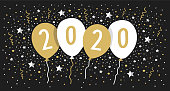 Greeting card 2020 with balloons, confetti, stars. You can edit the colors or sizes easily if you have Adobe Illustrator or other vector software. All shapes are vector