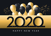 Vector illustration of a Happy New Year 2020 with balloons greeting card banner design in metallic gold with glitter. Easy to edit with layers. Golden metallic on dark blue black background.