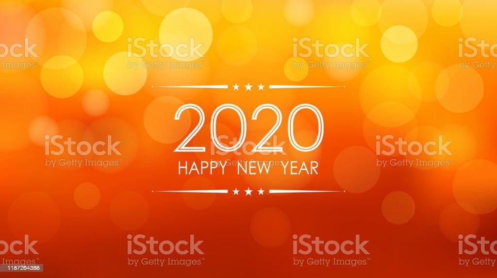 glückliches neues Jahr 2020 mit Bokeh und Linse Flare Muster auf Sommer orange Farbe Hintergrund - Lizenzfrei 2020 Vektorgrafik