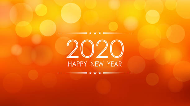 happy new year 2020 with bokeh and lens flare pattern on summer orange color background - bokeh stock illustrations