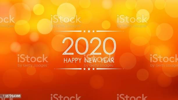 Glückliches Neues Jahr 2020 Mit Bokeh Und Linse Flare Muster Auf Sommer Orange Farbe Hintergrund Stock Vektor Art und mehr Bilder von 2020