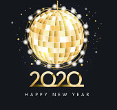 Vector illustration of a Happy New Year 2020 with disco ball greeting card banner design in metallic gold with glitter. Easy to edit with layers. Golden metallic on dark blue black background.