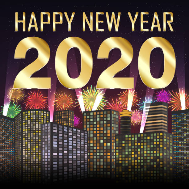 Happy new year 2020 with firework on city background vector art illustration