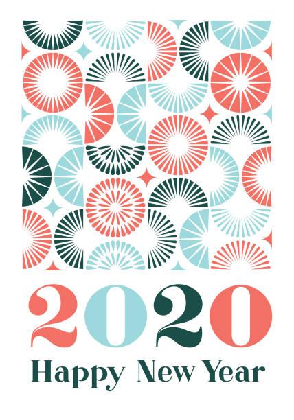 ilustrações, clipart, desenhos animados e ícones de feliz ano novo 2020 com padrão de fogos de artifício - font