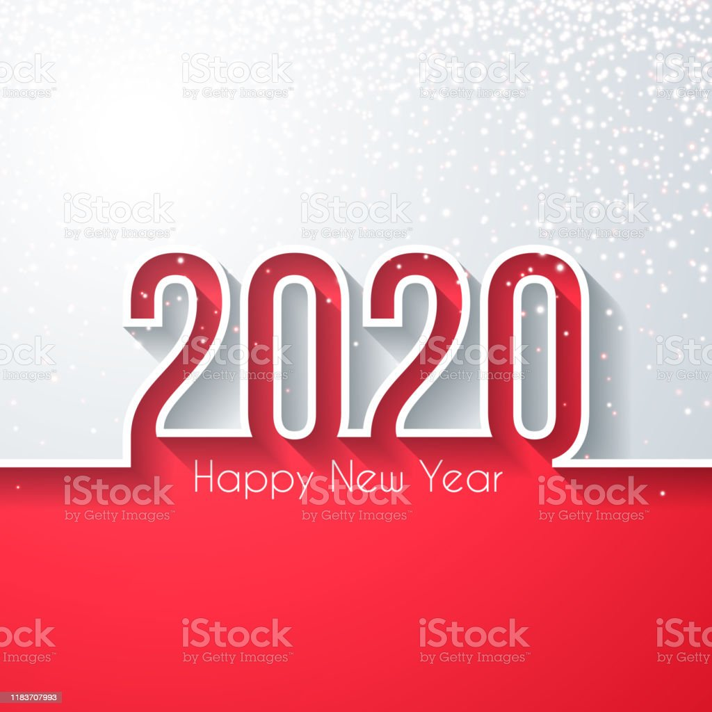 Happy new year 2020 with gold glitter - White background - Royalty-free 2020 stock vector