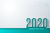 Happy new year 2020 with gold glitter and space for your text. Creative greeting card in a trendy and modern style. The layers are named to facilitate your customization. Vector Illustration (EPS10, well layered and grouped). Easy to edit, manipulate, resize or colorize.