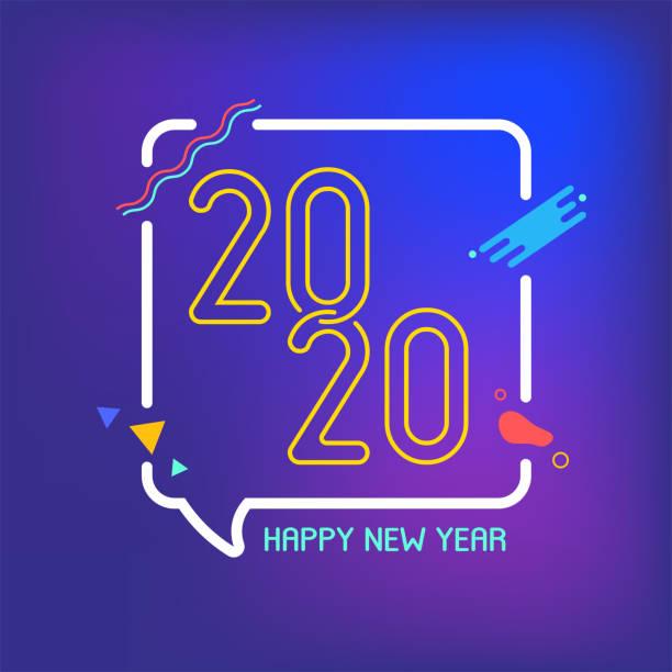 glückliches neues Jahr 2020 mit Neon-Sprechblase und geometrischer Form flachen Design-Stil auf Farbverlauf blau und lila Hintergrund. Moderne Urlaubs-Einladungskarte – Vektorgrafik