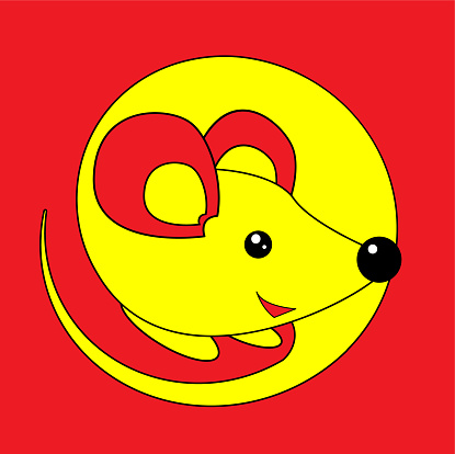 Happy New Year 2020 Year Of The Rat Yellow Mouse On A Red ...