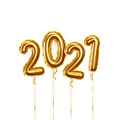 Happy New Year 2021. Background realistic golden balloons. Decorative design elements. Object render 3d ballon with ribbon. Celebrate party Poster, banner, greeting card. Festive Vector illustration.