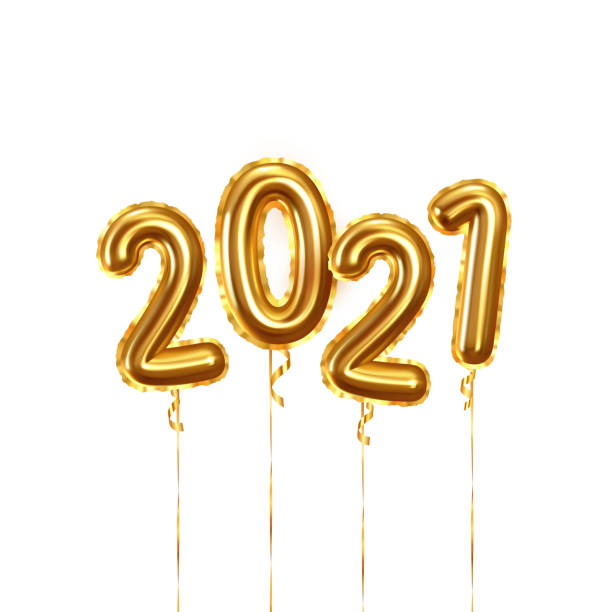 Happy New Year 2021. Background realistic golden balloons. Decorative design elements. Object render 3d ballon with ribbon. Celebrate party Poster, banner, greeting card. Festive Vector illustration. Happy New Year 2021. Background realistic golden balloons. Decorative design elements. Object render 3d ballon with ribbon. Celebrate party Poster, banner, greeting card. Festive Vector illustration. 2021 stock illustrations