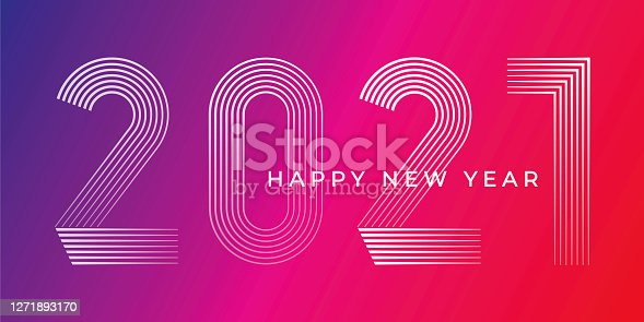 Happy New Year 2021 Background. Stock illustration