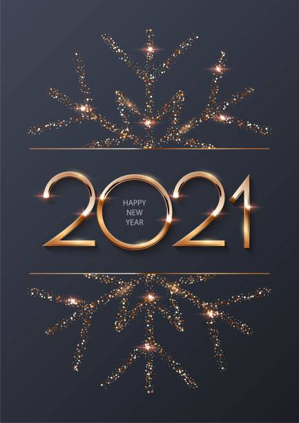 Happy new year 2021 background with gold frame and snowflake. Shining with sparkles numbers and border Christmas card. Greeting festive vector illustration. Merry holiday modern poster design Happy new year 2021 background with gold frame and snowflake. Shining with sparkles numbers and border Christmas card. Greeting festive vector illustration. Merry holiday modern poster design. happy new year 2021 stock illustrations