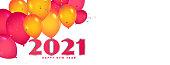 Happy new year 2021 balloons celebration background