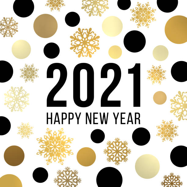 Happy New Year 2021 banner design. Festive greeting card. Black and gold glowing light shining circles snowflakes pattern. Christmas decoration with celebrating text. Bright golden vector illustration Happy New Year 2021 banner design. Festive greeting card. Black and gold glowing light shining circles snowflakes pattern. Christmas decoration with celebrating text. Bright golden vector illustration new years day stock illustrations