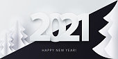 Happy New Year 2021 banner in paper cut style for seasonal holidays flyers, greetings and invitations, christmas themed congratulations and cards.