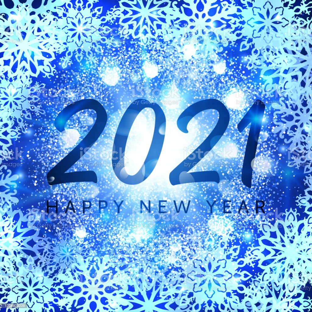 happy new year 2021 banner on blue glittering snowflakes background greeting card design with glowing abstract particles light flash stars new year celebration holiday decoration vector illustration stock illustration download image happy new year 2021 banner on blue glittering snowflakes background greeting card design with glowing abstract particles light flash stars new year celebration holiday decoration vector illustration stock illustration download image