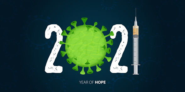 Happy New Year 2021 banner with Covid-19 Vaccine and Virus. Year of hope. Banner design template for New Year 2021 decoration in Covid-19 Vaccine Concept. Vector