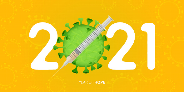 Happy New Year 2021 banner with Covid-19 Vaccine and Virus. Year of hope. Banner design template for New Year 2021 decoration in Covid-19 Vaccine Concept. Vector.