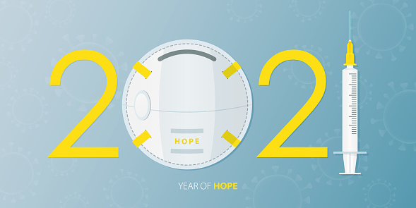 Happy New Year 2021 banner with Covid-19 Vaccine, Virus and Face Mask. Year of hope. Banner design template for New Year 2021 decoration in Covid-19 Vaccine Concept.