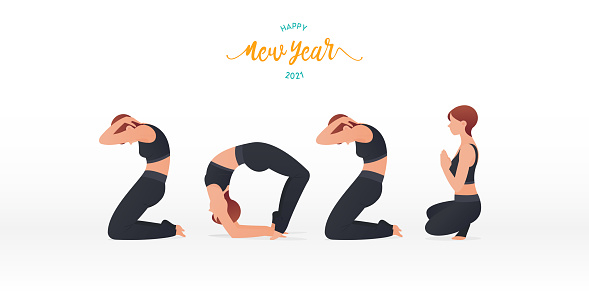 Happy New Year 2021 banner with yoga poses or asana posture. Year of good health. Banner design template for New Year 2021 decoration in Yoga Concept.