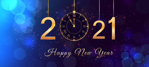 Happy New Year 2021 blue background with bokeh effect, hanging golden numbers, gold vintage clock and lights. Magic holiday banner, poster or greeting card with happy new year text. Happy New Year 2021 blue background with bokeh effect, hanging golden numbers, gold vintage clock and lights. Magic holiday banner, poster or greeting card with happy new year text. happy new year 2021 stock illustrations