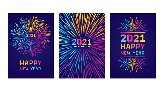Modern New year colorful fireworks. Editable set of vector illustrations on layers.  This is an AI EPS 10 file format, with transparencies, gradients and one clipping mask.