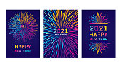 Modern New year colorful fireworks. Editable set of vector illustrations on layers. \nThis is an AI EPS 10 file format, with transparencies, gradients and one clipping mask.