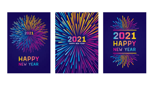 Happy new year 2021 card set Modern New year colorful fireworks. Editable set of vector illustrations on layers.  This is an AI EPS 10 file format, with transparencies, gradients and one clipping mask. happy new year 2021 stock illustrations