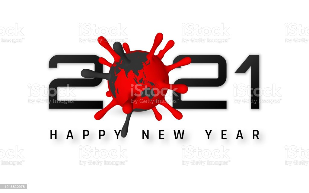 Happy New Year 2021 Cover With Coronavirus Unit Template Of Business Design Card Banner On White Bakground Vector Illustration Stock Illustration Download Image Now Istock